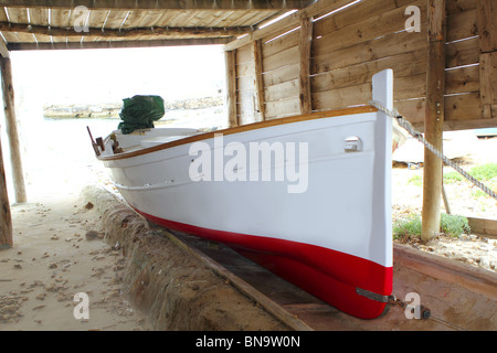 Formentera traditional boat stranded on wooden rails - Stock Photo