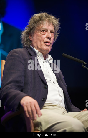 British playwright Sir Tom Stoppard pictured in conversation at Hay Festival 2010 Hay on Wye Powys Wales UK - Stock Photo