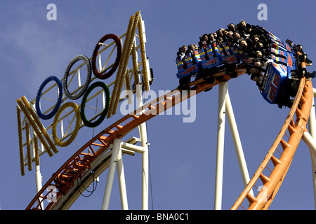 rollercoaster fairground rides at oktoberfest stock photo royalty free image 55649851 alamy. Black Bedroom Furniture Sets. Home Design Ideas