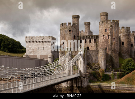 Wales, Gwynedd, Conway Castle, with Telford and Stephenson's bridges - Stock Photo