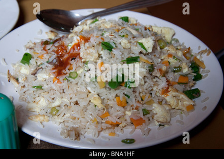 Fried rice served at the Indian Coffee House in Kolkata (Calcutta), West Bengal, India. - Stock Photo