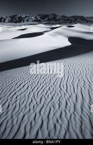 Black and white sunrise over Mesquite Flats Sand Dunes,Death Valley national park - Stock Photo
