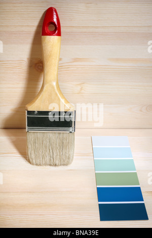 painting brush and gamut prints - Stock Photo