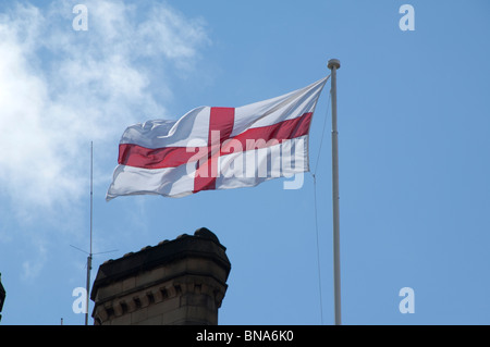 Flag of St. George on Manchester Town Hall - Stock Photo