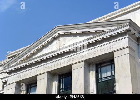 Dirksen senate office building in Washington DC with the inscription 'The Senate is the living symbol of our union - Stock Photo