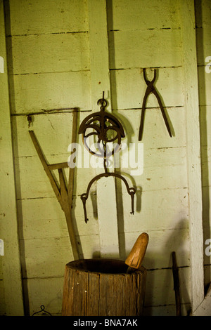 Hand tools once used by slaves on display at Hopsewee Plantation in Georgetown, SC. - Stock Photo