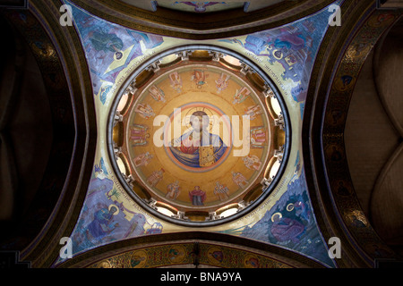 Christ Pantocrator decorates the dome of Catholicum or Catholicon chamber at the Holy Sepulchre church in Jerusalem - Stock Photo