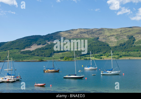 Boats and yachts on Loch Leven at Ballachulish Highland Scotland - Stock Photo