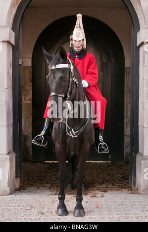 Member of the Household Cavalry, Life Guards, Horse Guards, London, United Kingdom - Stock Photo