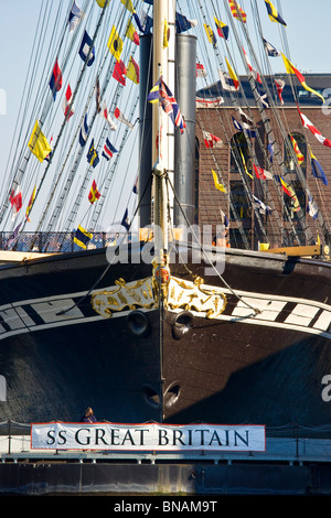 The prow of the SS Great Britain in dry dock in the floating harbour at Bristol - Stock Photo