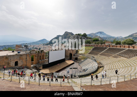 The Greek Theatre (Teatro Greco) set up for the FilmFest film festival in June 2010, Taormina, Sicily, Italy - Stock Photo