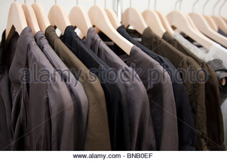Clothing on a rail - Stock Photo