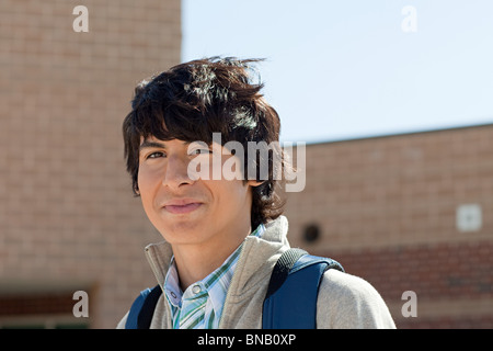 Portrait of male high school student - Stock Photo
