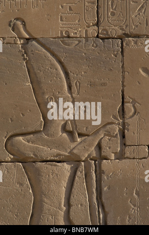 Relief depicting a Pharaoh making libations to the gods. Ramesseum. Egypt. - Stock Photo