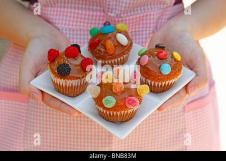 Easy homemade cupcakes. Recipe available. - Stock Photo