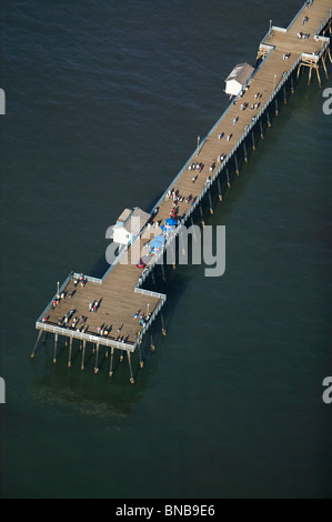 aerial view above San Clemente California pier - Stock Photo