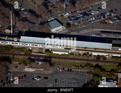 aerial view above Bay Area Rapid Transit BART train station San Leandro California - Stock Photo