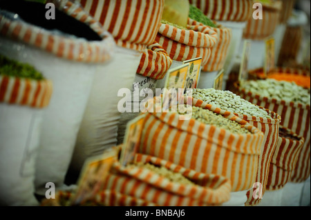 pulses and peas in a spice and dry fruit shop - Stock Photo