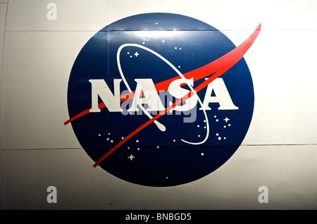 NASA logo on the Space Shuttle at space centre in Houston, Texas, North America, USA - Stock Photo