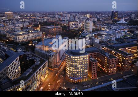 Potsdamer Platz, Stresemannstrasse, office buildings and skyline of Kreuzberg district, Tempodrom and Martin-Gropius - Stock Photo