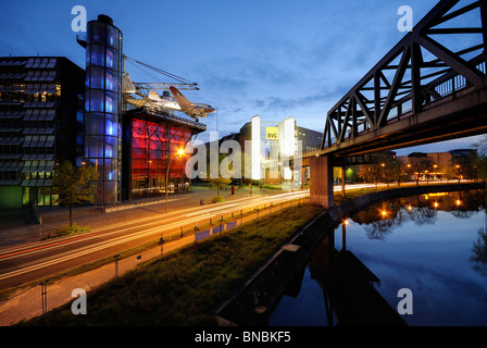 German Museum of Technology with with C-47 Skytrain candy bomber and U-Bahn railway bridge, Kreuzberg, Berlin, Germany, - Stock Photo