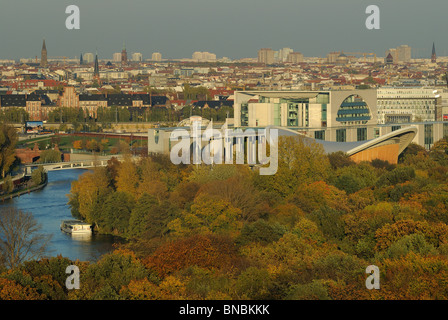 Grosser Tiergarten Park, view from above, Federal Chancellery, House of World Cultures, skyline of Berlin Mitte, - Stock Photo