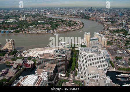 view from top of canary wharf tower - Stock Photo
