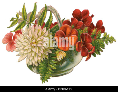 White Dahlia and Red Flowers in a Basket - Stock Photo