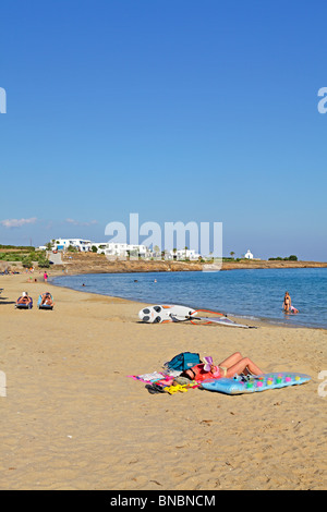 beach Nea Chrissi Akti (golden beach), Island of Paros, Cyclades, Aegean Islands, Greece - Stock Photo