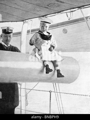 Future King - Prince Edward of York on board his Father's Ship - Stock Photo