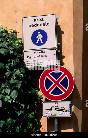 italy, rome, pedestrian area and no parking signs - Stock Photo