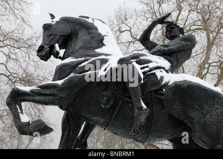 Winter view of the Physical Energy sculpture by George Frederick Watts, Hyde Park, London, W2. - Stock Photo