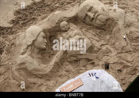 Sand sculpture showing nativity scene at Gabriels Wharf, Lambeth, London, SE1. - Stock Photo