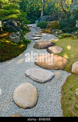 Rock Path in Japanese Garden - Stock Photo