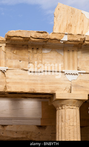 Entablature of the Propylaea of the Athenian acropolis after renovation was completed in 2010. Viewed from the east. - Stock Photo