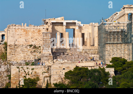 The Propylaea of the Athenian acropolis after renovation was completed in 2010. Viewed from the west. - Stock Photo