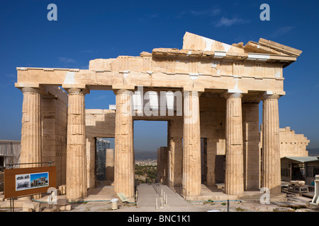 The Propylaea of the Athenian acropolis after renovation was completed in 2010. Viewed from the east. - Stock Photo