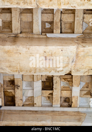 Ceiling coffers of the Propylaea of the Athenian acropolis after renovation was completed in 2010. - Stock Photo