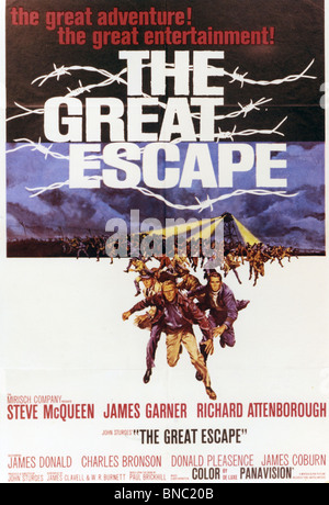 THE GREAT ESCAPE Poster for 1963 Mirisch film with Steve McQueen - Stock Photo