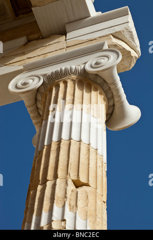 An Ionic column of the Propylaea of the Athenian acropolis after renovation was completed in 2010. - Stock Photo