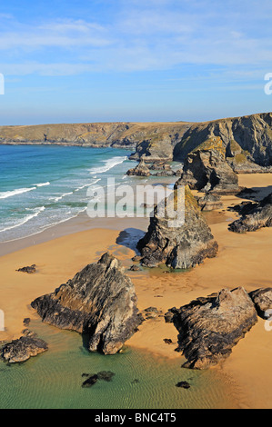 bedruthan steps near watergate bay on the north coast of cornwall, uk - Stock Photo