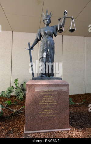 A statue of the Lady Justice outside the Law Courts including the Supreme Court in Brisbane, Queensland, Australia. - Stock Photo
