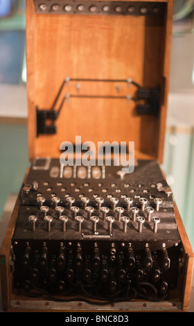 Enigma Machine. A German navy 4 wheel Enigma encryption machine. War Cabinet Rooms and Churchill , London, , United - Stock Photo