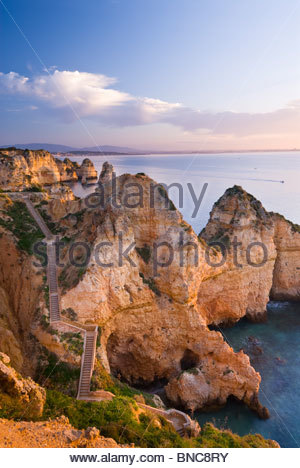 Steps leading down to the water at Ponta Da Piedade, Algarve, Portugal. - Stock Photo