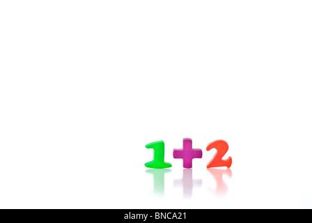 Children's plastic magnetic numbers 1 + 2 - Stock Photo