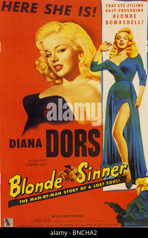 BLONDE SINNER aka Yield To The Night - Poster for 1956  ABP film with Diana Dors  loosely based on the Ruth Ellis - Stock Photo