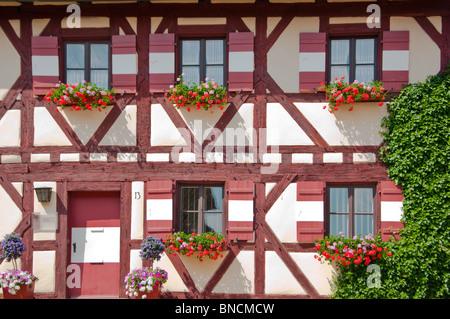 Medieval wood framed buildings at Kaiserburg Castle in Nuremburg, Germany. - Stock Photo