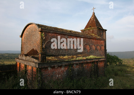 The abandoned catholic churchat Bokor Hill Station, Kampot, Cambodia - Stock Photo