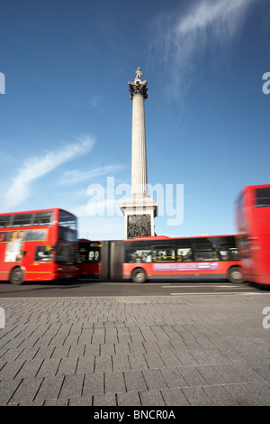 Nelson's Column and fountains at Trafalgar Square, London, England, UK - Stock Photo