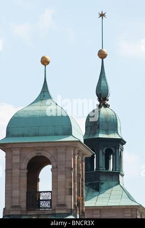 Nuremberg town hall spires, Germany - Stock Photo
